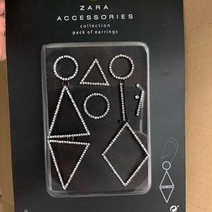 Zara collection earrings silver diamanté's